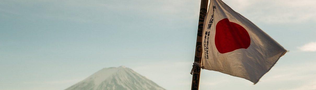 Japonska zastava in gora Fuji