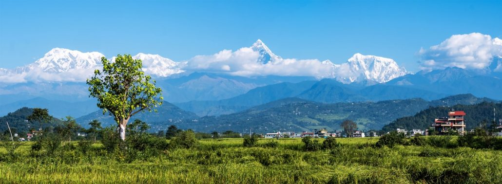 Horizontal panoramic mountain view to Annapurna mountain range, Nepal