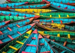 Boats floating at Pokhara´s lake, Nepal