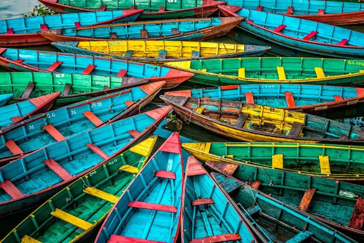Boats floating at Pokhara´s lake, Nepal