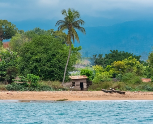 Sao Tome, beautiful landscape, village, beach and rainforest in background